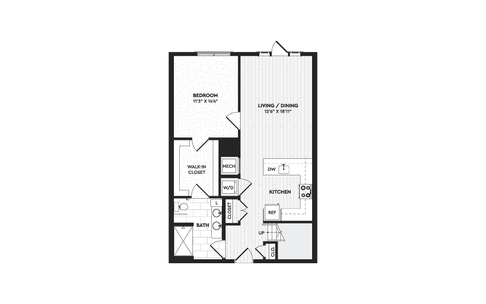 A2+L - 1 bedroom floorplan layout with 2 baths and 1403 square feet. (Floor 1)