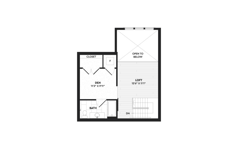 A2+L - 1 bedroom floorplan layout with 2 baths and 1403 square feet. (Floor 2)