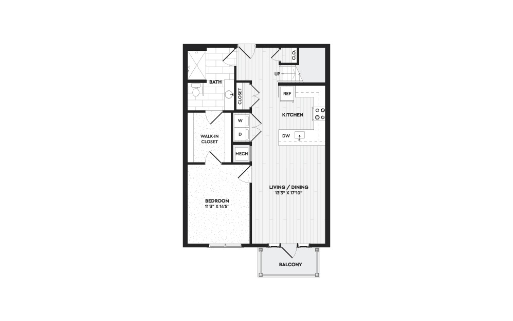 A2A+L - 1 bedroom floorplan layout with 2 baths and 1298 square feet. (Floor 1)