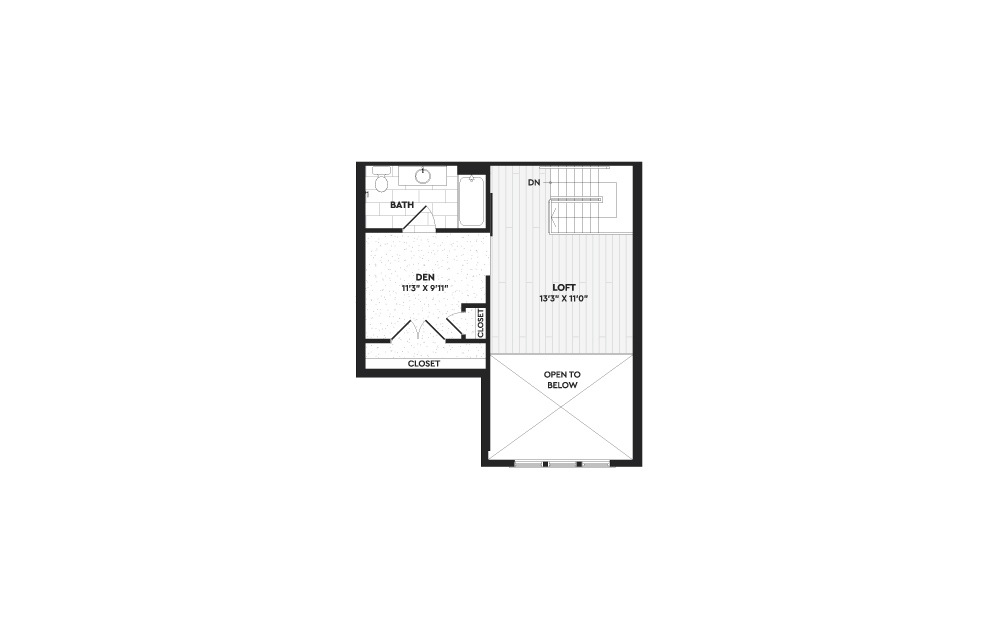 A2A+L - 1 bedroom floorplan layout with 2 baths and 1298 square feet. (Floor 2)