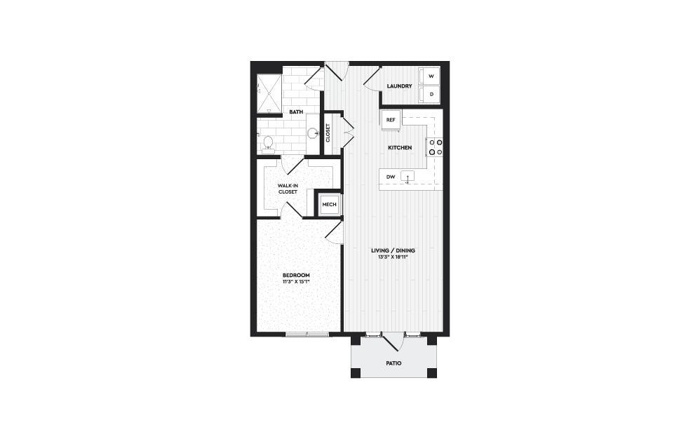 A2A - 1 bedroom floorplan layout with 1 bath and 940 square feet.