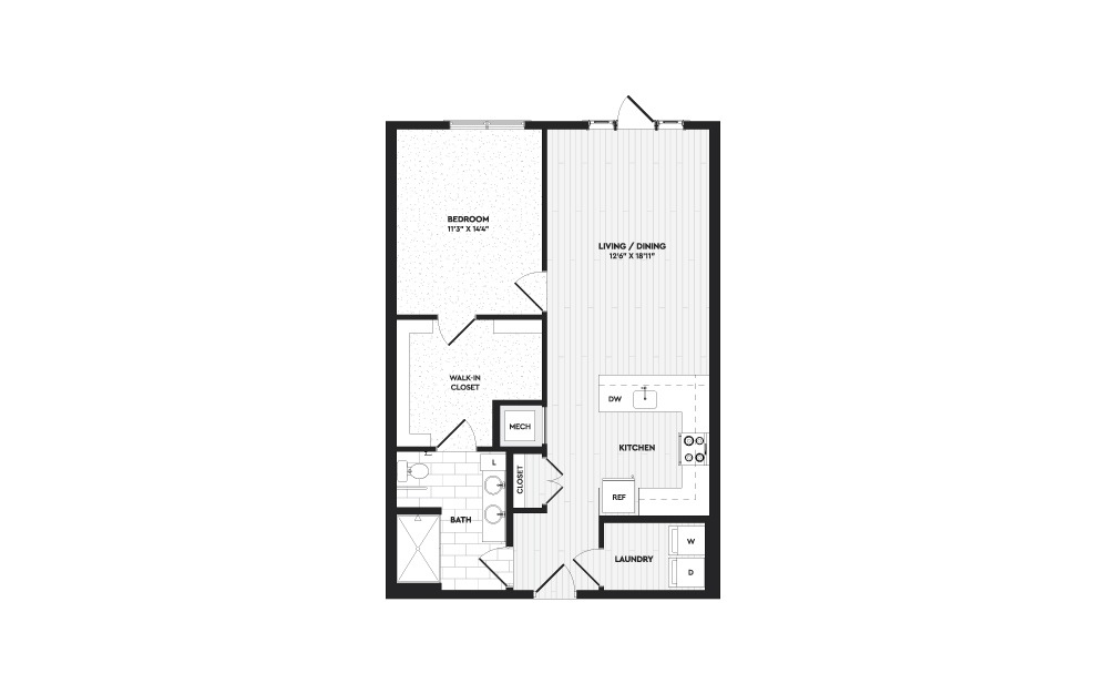 A2 - 1 bedroom floorplan layout with 1 bath and 920 square feet.