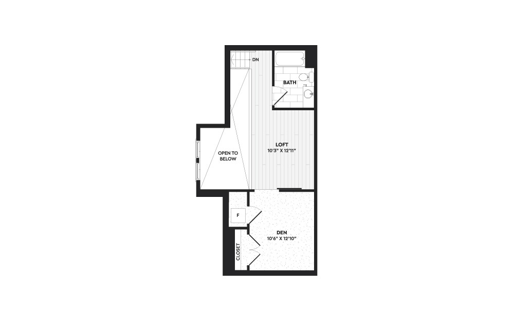 A3+L - 1 bedroom floorplan layout with 2 baths and 1303 square feet. (Floor 2)