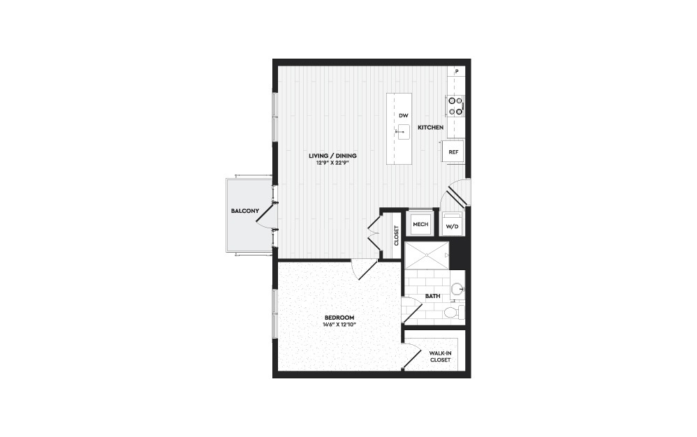A3 - 1 bedroom floorplan layout with 1 bath and 850 square feet.