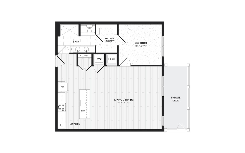 A4 - 1 bedroom floorplan layout with 1 bath and 970 square feet.