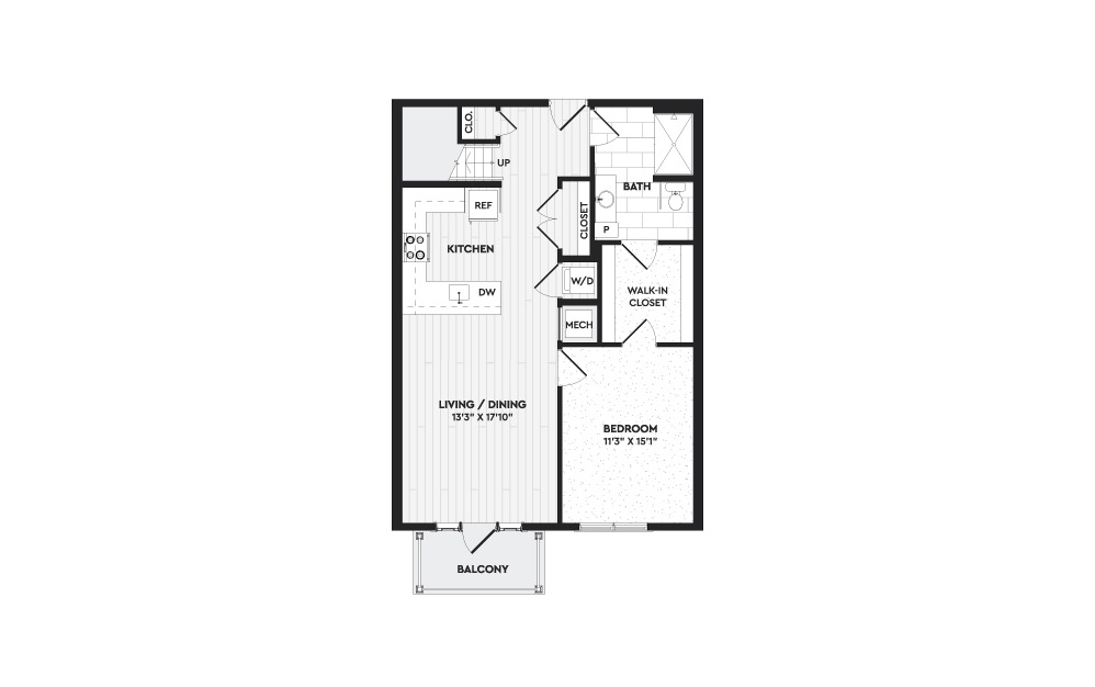 A5+L - 1 bedroom floorplan layout with 2 baths and 1360 square feet. (Floor 1)