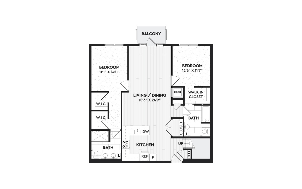 B1A+L - 2 bedroom floorplan layout with 2 baths and 1768 square feet. (Floor 1)