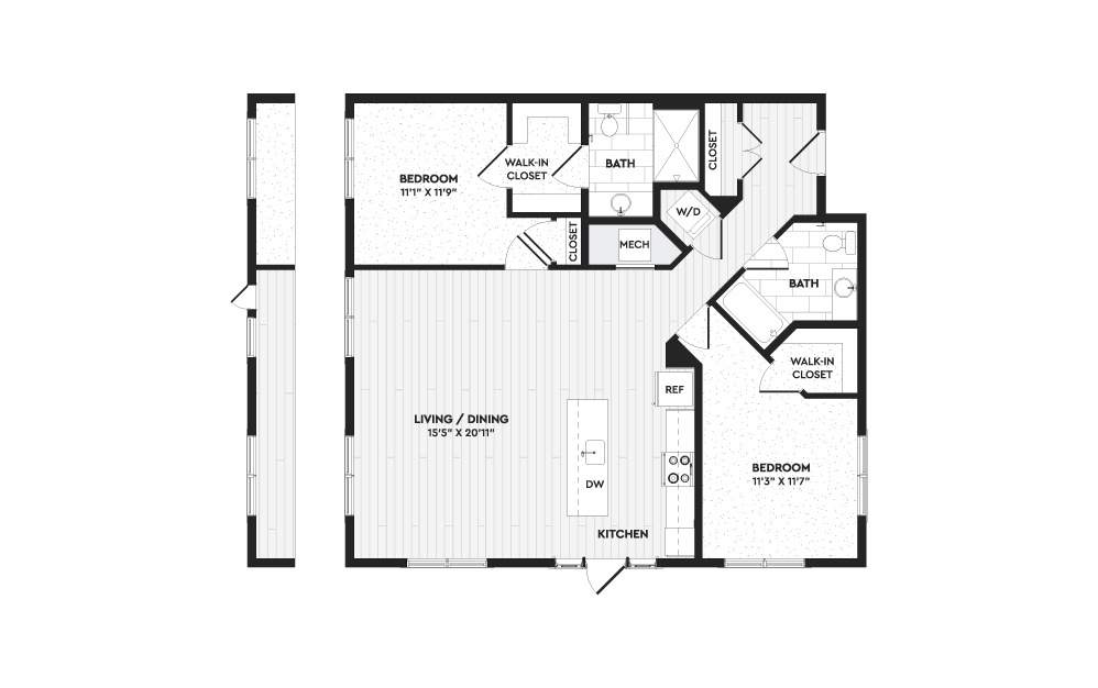 B2 - 2 bedroom floorplan layout with 2 baths and 1250 square feet. (Layout 2)