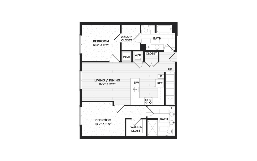 B3+L - 2 bedroom floorplan layout with 3 baths and 1576 square feet. (Floor 1)