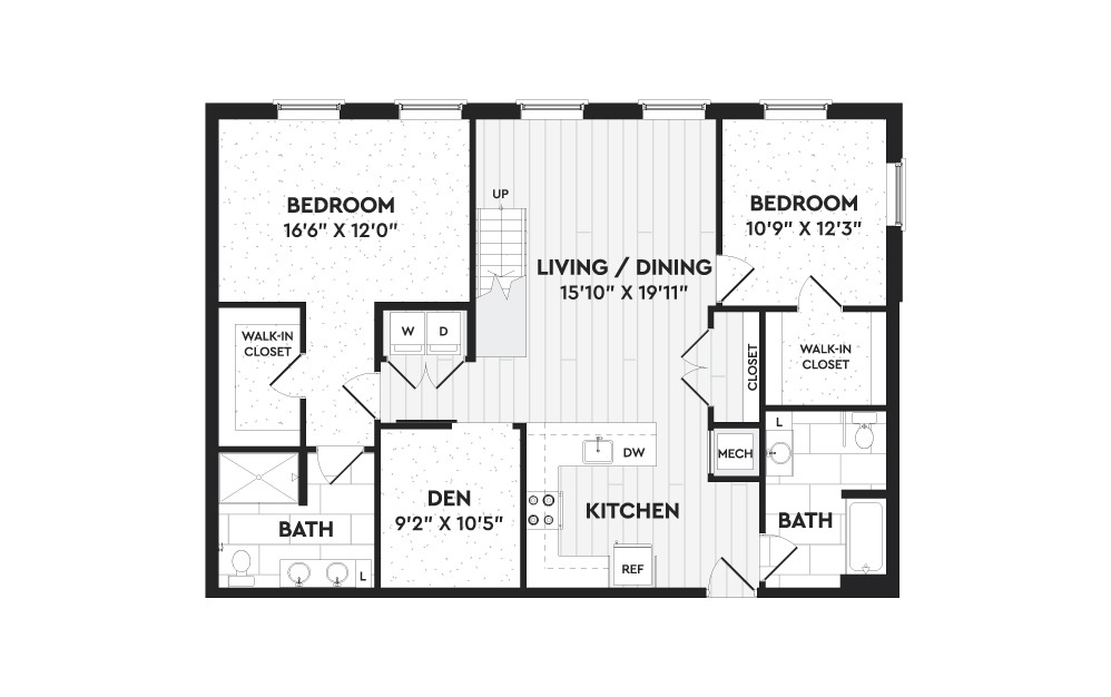 B7A+L - 2 bedroom floorplan layout with 2 baths and 2025 square feet. (Floor 1)