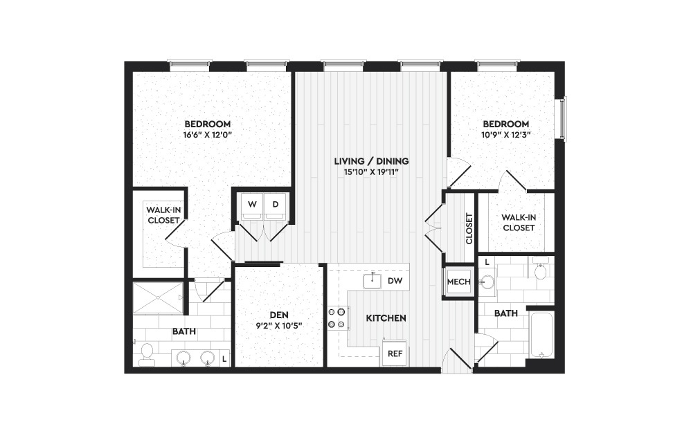 B7A - 2 bedroom floorplan layout with 2 baths and 1420 square feet. (Layout 1)
