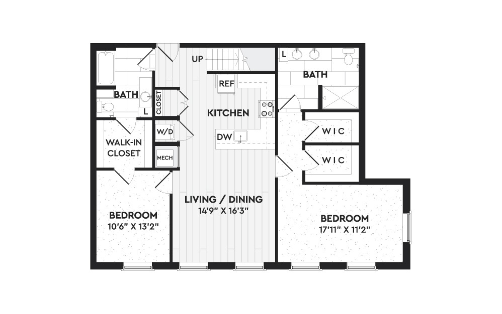 B8+L - 2 bedroom floorplan layout with 2 baths and 1857 square feet. (Floor 1)