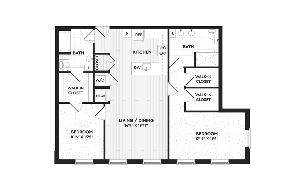 B8 - 2 bedroom floorplan layout with 2 baths and 1300 square feet.