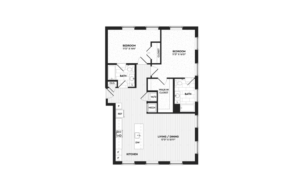 B9 - 2 bedroom floorplan layout with 2 baths and 1300 to 2108 square feet. (Layout 1)