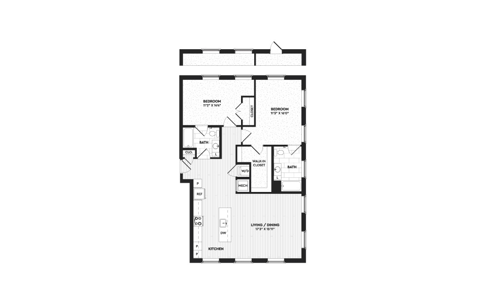 B9 - 2 bedroom floorplan layout with 2 baths and 1300 to 2108 square feet. (Layout 2)