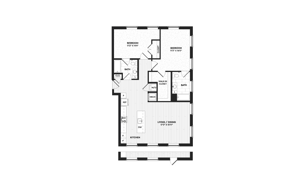 B9 - 2 bedroom floorplan layout with 2 baths and 1300 to 2108 square feet. (Layout 3)