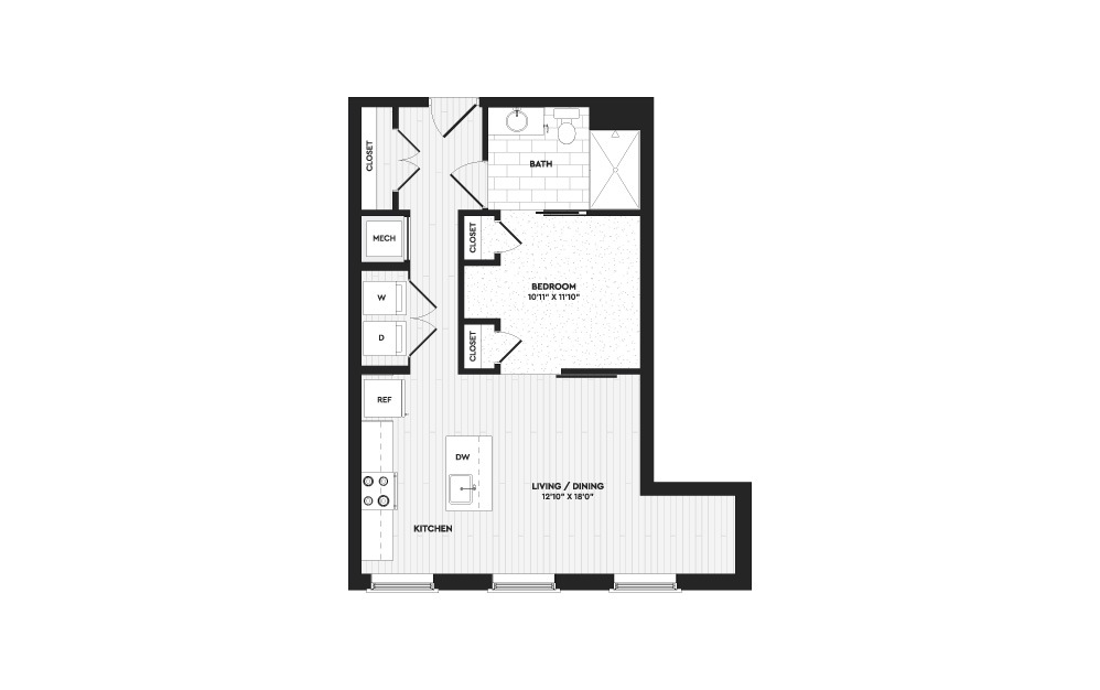 S1A - Studio floorplan layout with 1 bath and 650 square feet.
