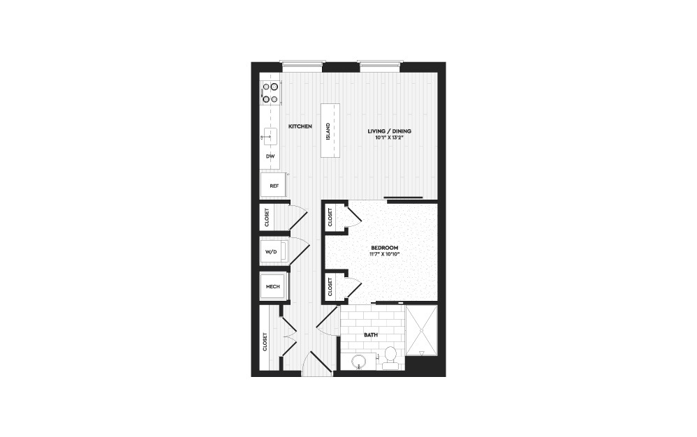 S1 - 1 bedroom floorplan layout with 1 bath and 610 square feet.