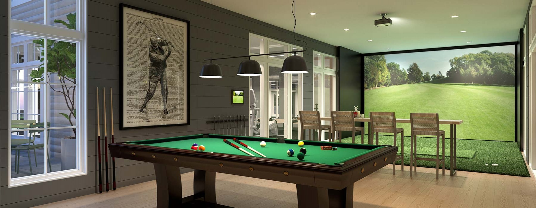game room with golf simulator