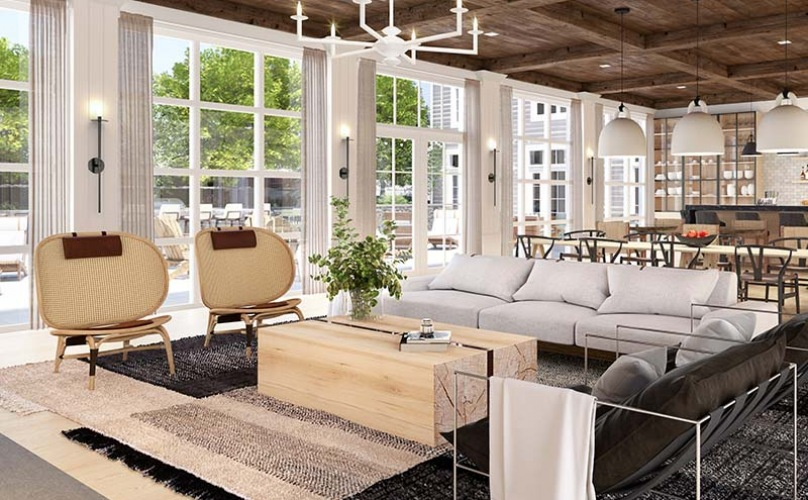 open great room with large windows